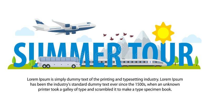 De banners van de de zomerreis in vlakke stijl Op tijd reizend van vakantie door vliegtuig, trein en bus Malplaatje voor reclame, vector illustratie