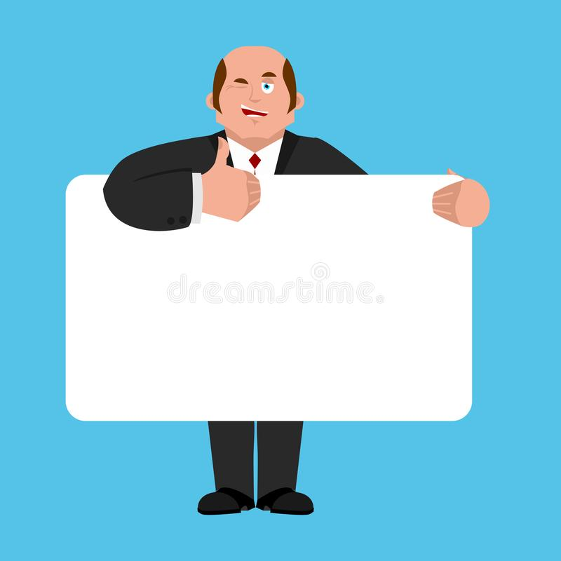 De bannerspatie van de zakenmanholding chef- en witte spatie Manager vector illustratie