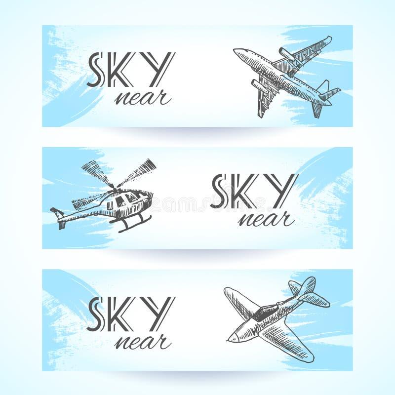 De bannersschets van vliegtuigenpictogrammen royalty-vrije illustratie