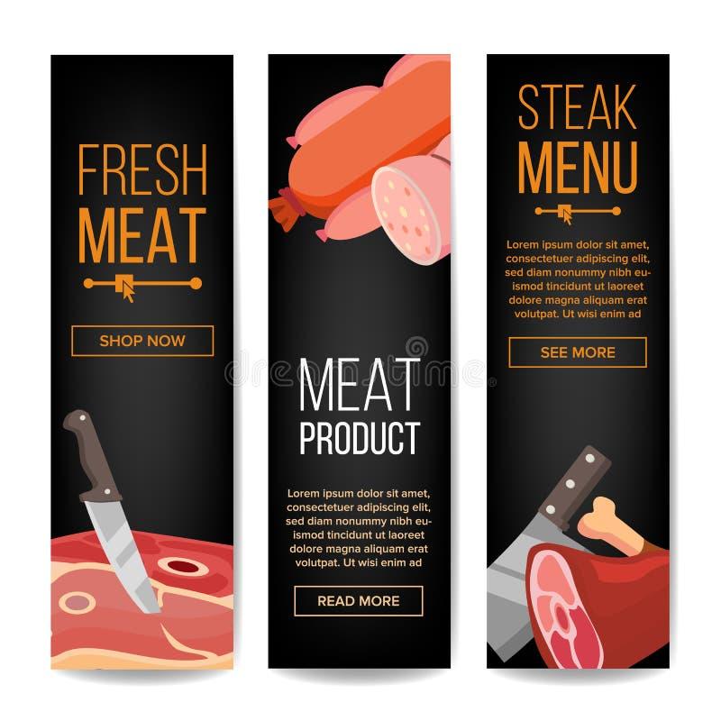De Bannersvector van Promo van het vleesproduct Verticale Voor het Ontwerp van Promo van de Grillbar Geïsoleerdeo illustratie vector illustratie