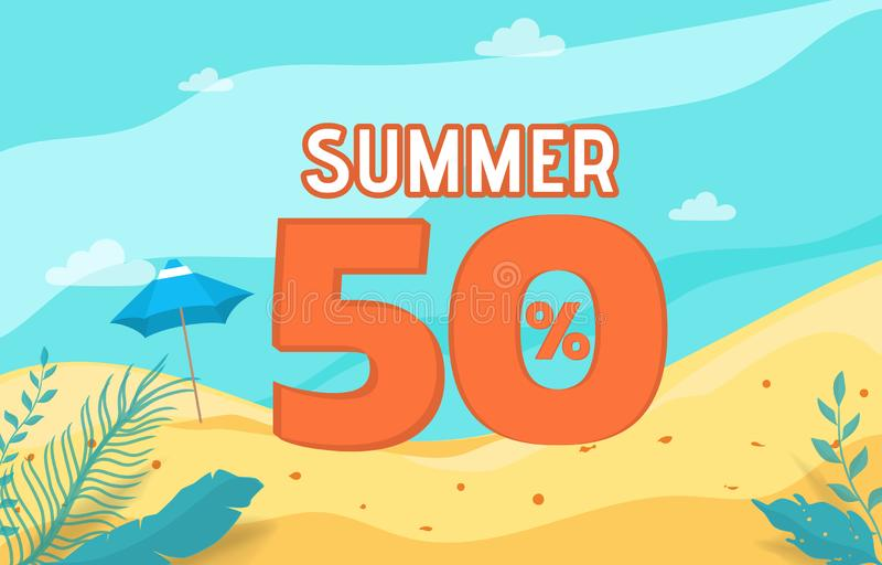 De bannervakantie van de de zomerverkoop met strandscène De vakantie van de zomer royalty-vrije illustratie