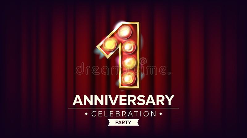 1 de Bannervector van de jaarverjaardag Één, Eerste Viering Het glanzen Licht Tekenaantal Voor Adreskaartjes, Prentbriefkaaren stock illustratie