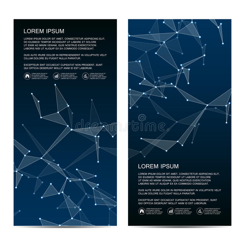 2 de bannières scientifiques verticales modernes Structure moléculaire de l'ADN et des neurones Fond abstrait géométrique médecin illustration libre de droits