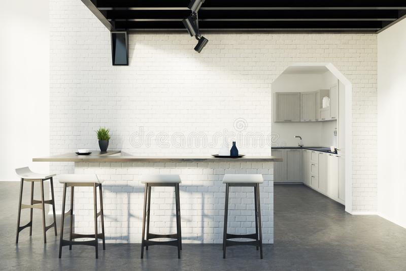 De bar van de baksteenkeuken, krukken en een grijze deur, stock illustratie