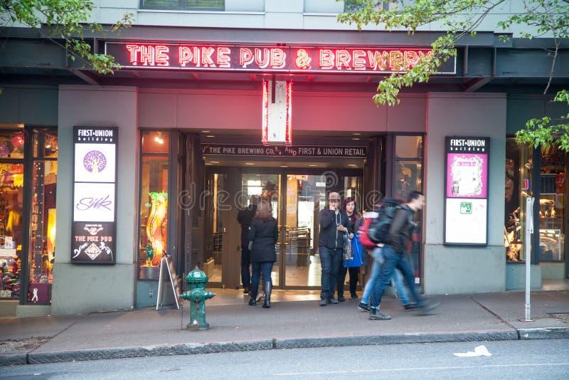 De Bar van de snoekenplaats en Brouwerij van Seattle royalty-vrije stock fotografie