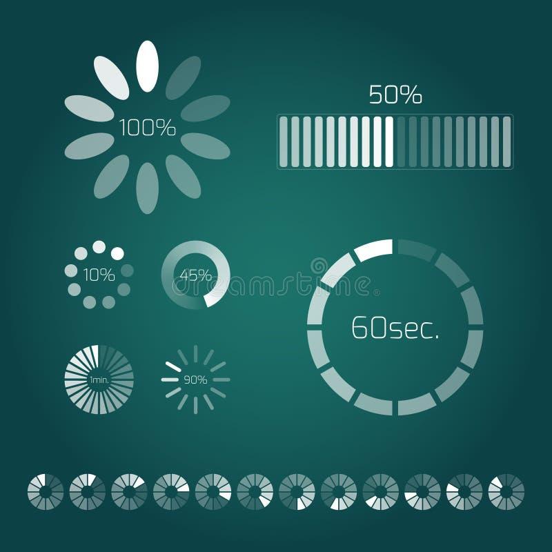 De bar van de vooruitgangslading Reeks indicatoren Downloadvooruitgang, Web vector illustratie