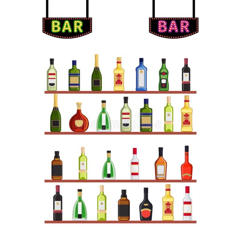 De Bar van neontekens en shelfs met de vectorillustratie van alcoholflessen royalty-vrije illustratie