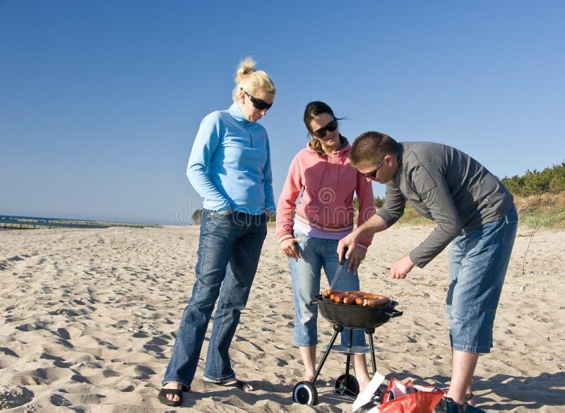 De barbecue van het strand stock fotografie