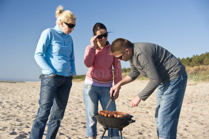 De barbecue van het strand stock afbeeldingen