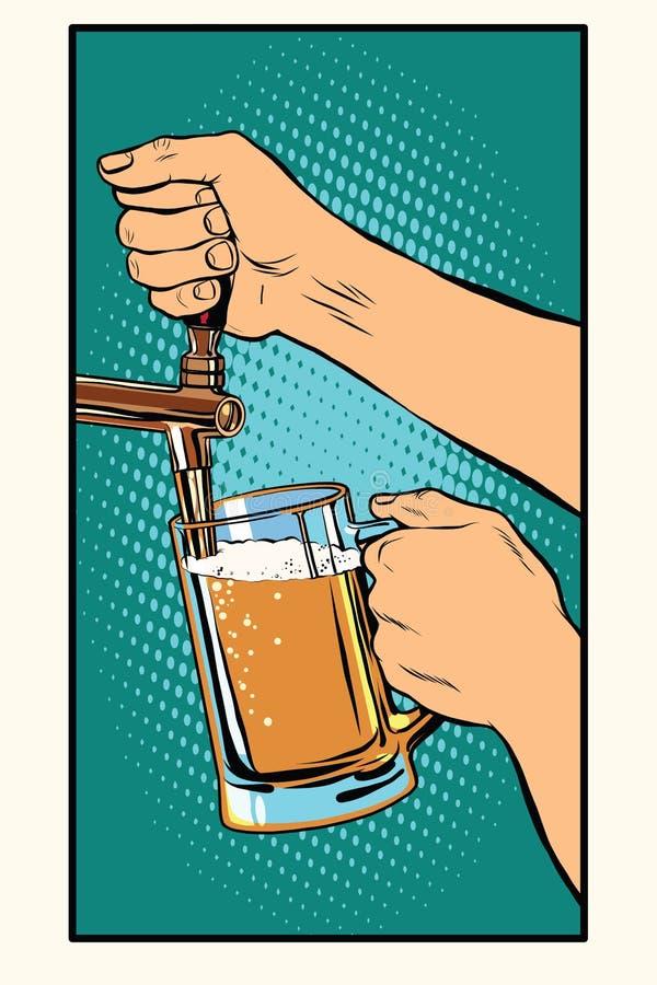 De barman giet een glas bier vector illustratie