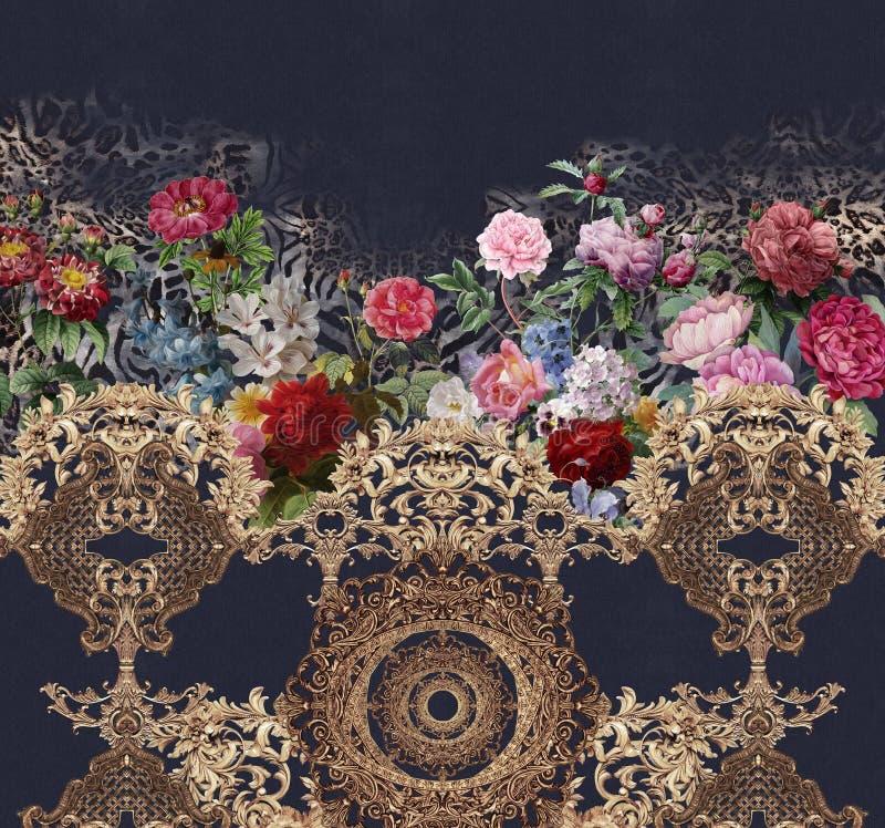 De barokke gouden bloemen van de jeanstextuur tuinieren dierlijke druk stock afbeeldingen