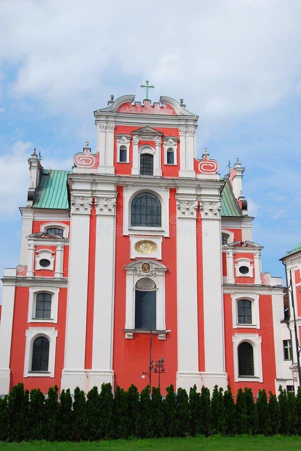 De barokke kerk van Fara Poznanska in Poznan stock foto
