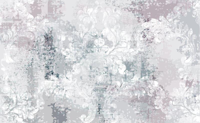 De barokke Vector van het textuurpatroon Bloemenornamentdecoratie Victoriaans gegraveerd retro ontwerp Uitstekende grungestof stock fotografie