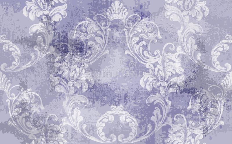 De barokke Vector van het textuurpatroon Bloemenornamentdecoratie Victoriaans gegraveerd retro ontwerp Uitstekende stoffendecors  stock afbeeldingen