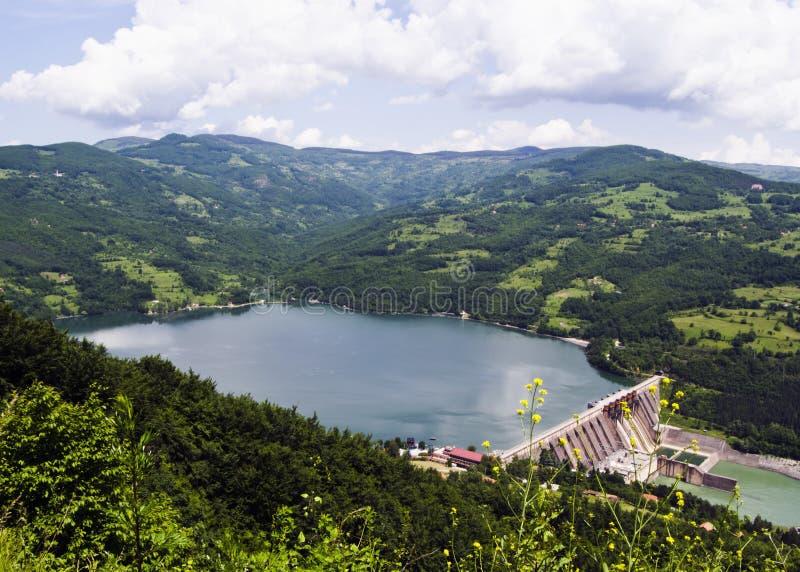 De barrièredam van het water, Perucac op rivier Drina, Servië royalty-vrije stock afbeelding
