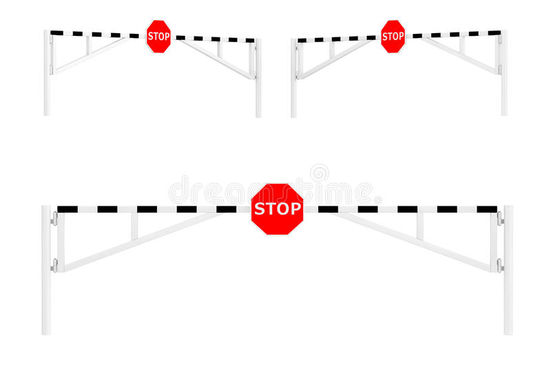 De Barrières van de wegauto met Eindeteken stock illustratie
