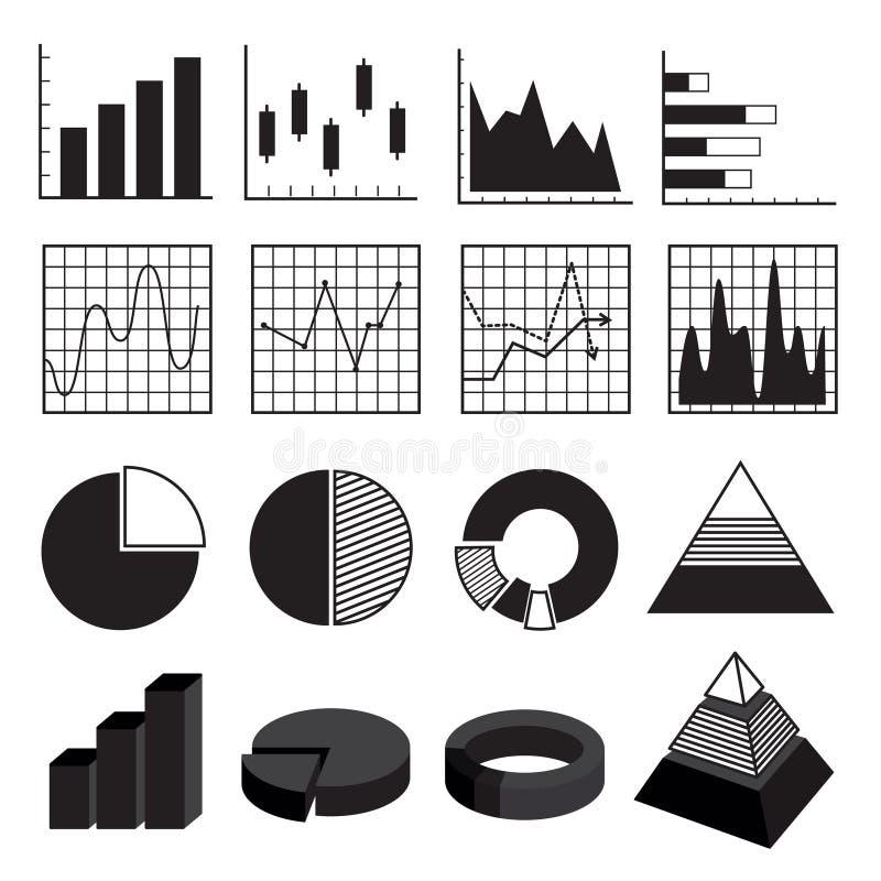 De Bars en de DiagrammenGegevenselementreeks van grafiekengrafieken vector illustratie