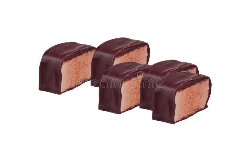 De bars van het chocoladesuikergoed op wit worden geïsoleerd dat stock foto's