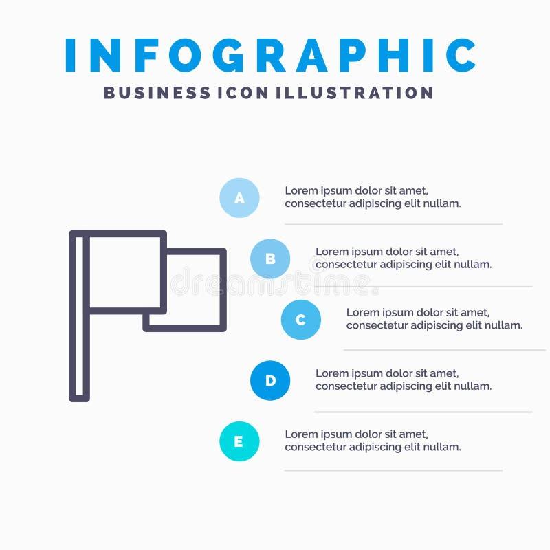 De base, drapeau, ligne icône d'Ui avec le fond d'infographics de présentation de 5 étapes illustration stock