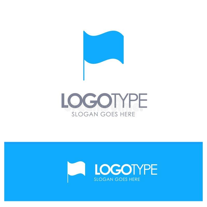 De base, drapeau, logo solide bleu d'Ui avec l'endroit pour le tagline illustration de vecteur