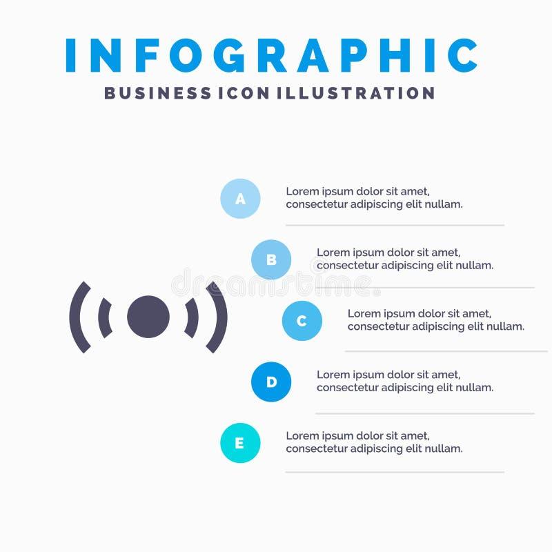 De base, essentiel, signal, Ui, fond solide de présentation d'étapes d'Infographics 5 d'icône d'Ux illustration stock