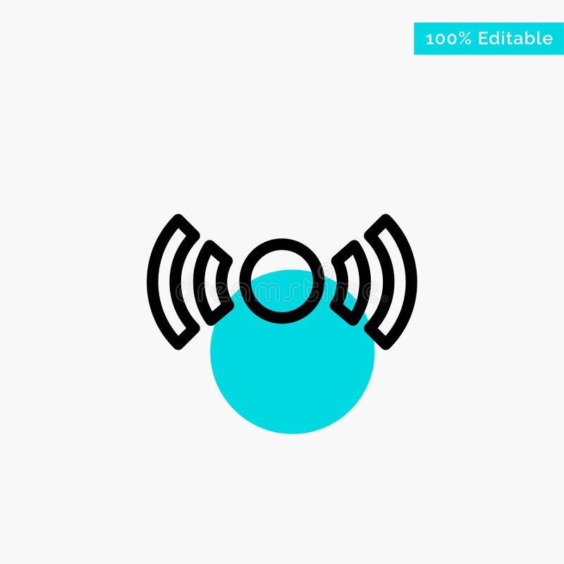 De base, essentiel, signal, Ui, icône de vecteur de point de cercle de point culminant de turquoise d'Ux illustration libre de droits