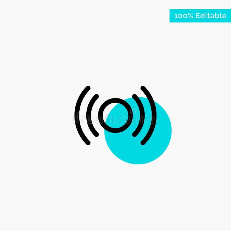 De base, essentiel, signal, Ui, icône de vecteur de point de cercle de point culminant de turquoise d'Ux illustration de vecteur