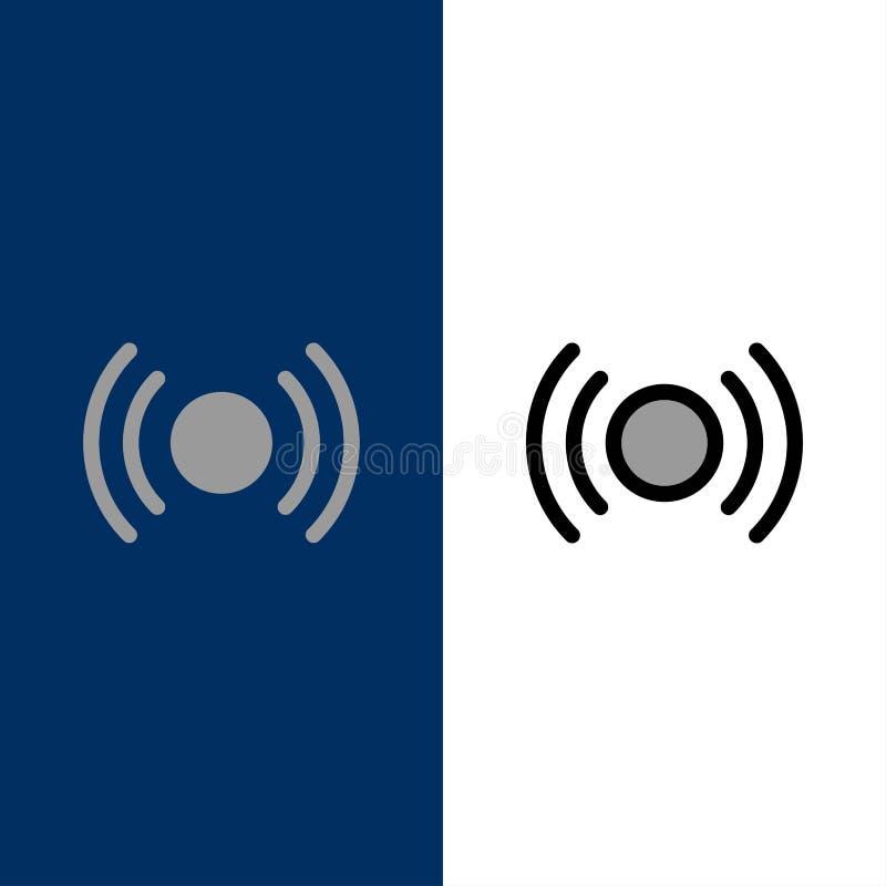 De base, essentiel, signal, Ui, icônes d'Ux L'appartement et la ligne icône remplie ont placé le fond bleu de vecteur illustration stock