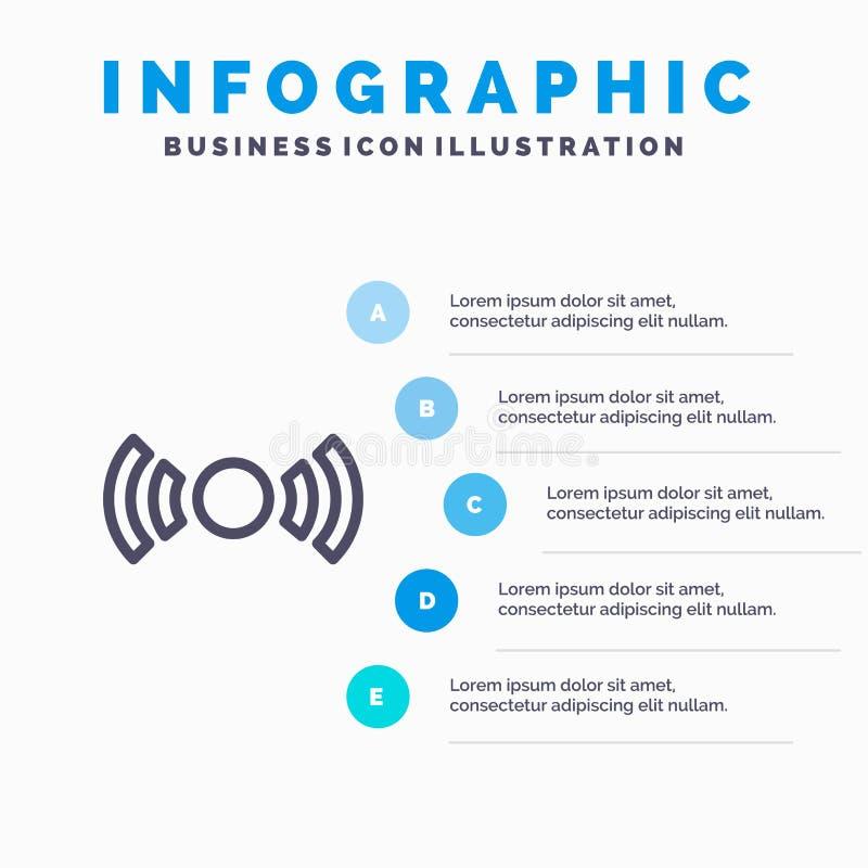 De base, essentiel, signal, Ui, ligne icône d'Ux avec le fond d'infographics de présentation de 5 étapes illustration libre de droits