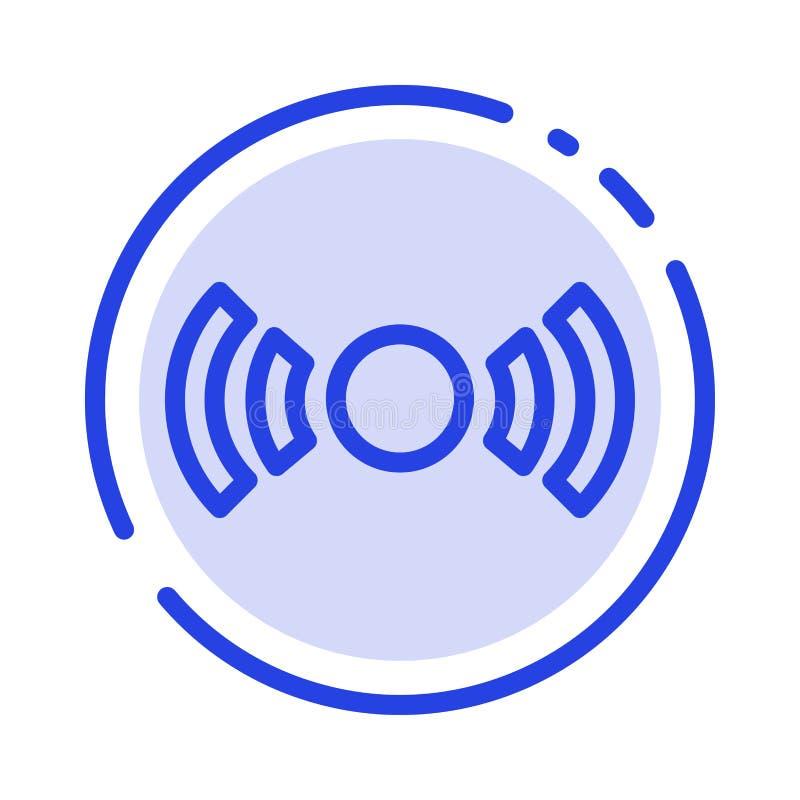 De base, essentiel, signal, Ui, ligne pointillée bleue ligne icône d'Ux illustration stock