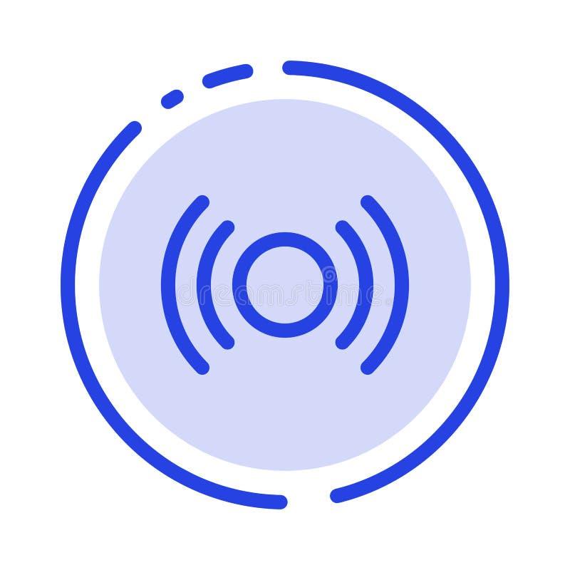 De base, essentiel, signal, Ui, ligne pointillée bleue ligne icône d'Ux illustration libre de droits