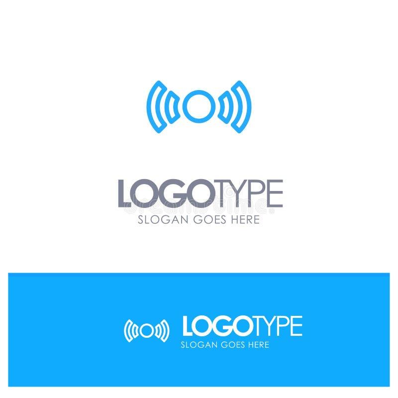 De base, essentiel, signal, Ui, logo bleu d'ensemble d'Ux avec l'endroit pour le tagline illustration stock