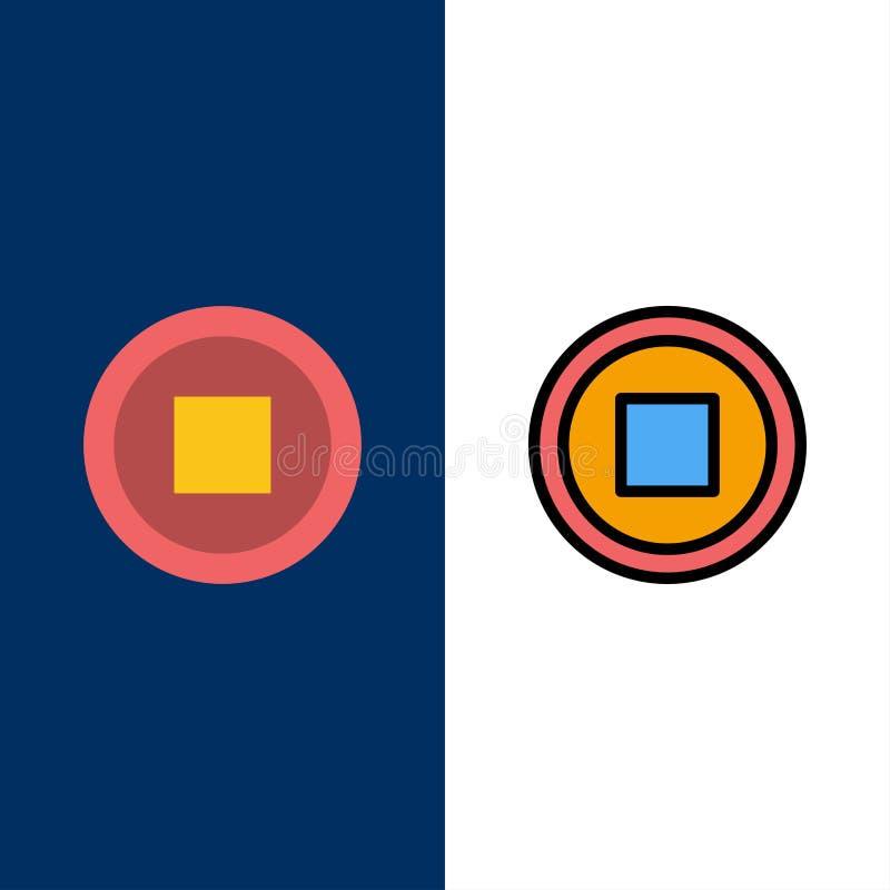 De base, interface, icônes d'utilisateur L'appartement et la ligne icône remplie ont placé le fond bleu de vecteur illustration stock