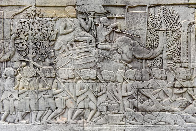De Bashulp van Bayon-Tempel, Angkor Thom, Siem oogst, Kambodja royalty-vrije stock foto