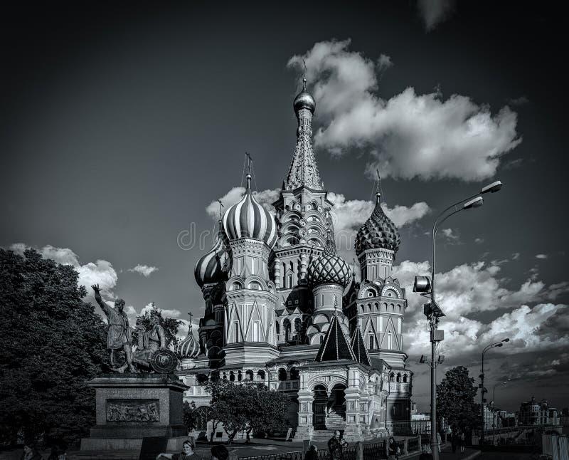 De Basilicumkathedraal van heilige in zwart-wit, Moskou, Rusland royalty-vrije stock foto