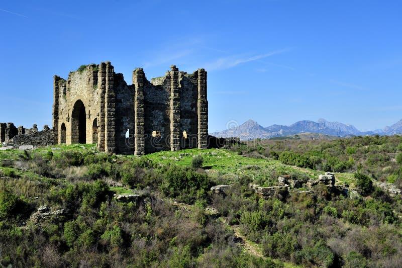 De Basiliek in Aspendos stock afbeeldingen