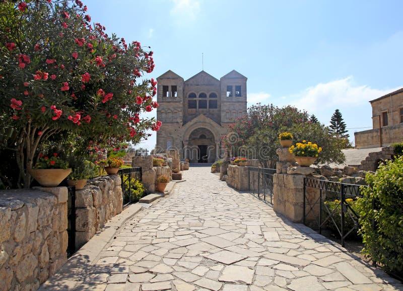 De basiliek van de Transfiguratie, zet Tabor, Galilee, Israël op royalty-vrije stock foto's