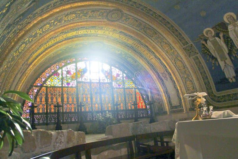 De basiliek van de Transfiguratie, zet Tabor op stock afbeelding