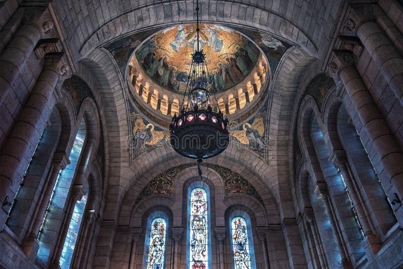 De basiliek van Sacrecoeur in Montmartre Parijs stock fotografie