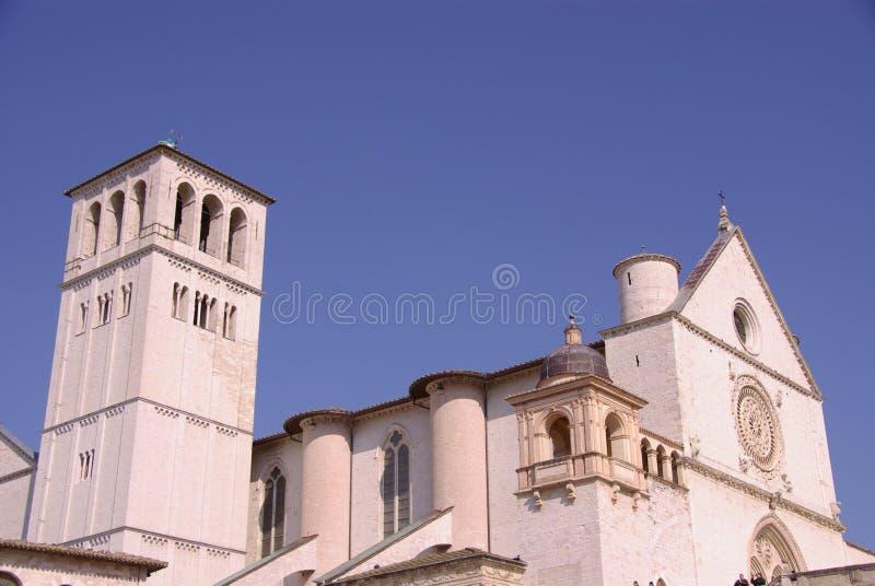 De basiliek van San Francesco in Assisi stock foto
