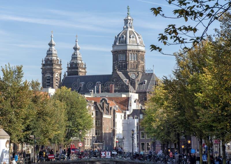 De Basiliek van Sinterklaas, Amsterdam, Nederland royalty-vrije stock afbeelding