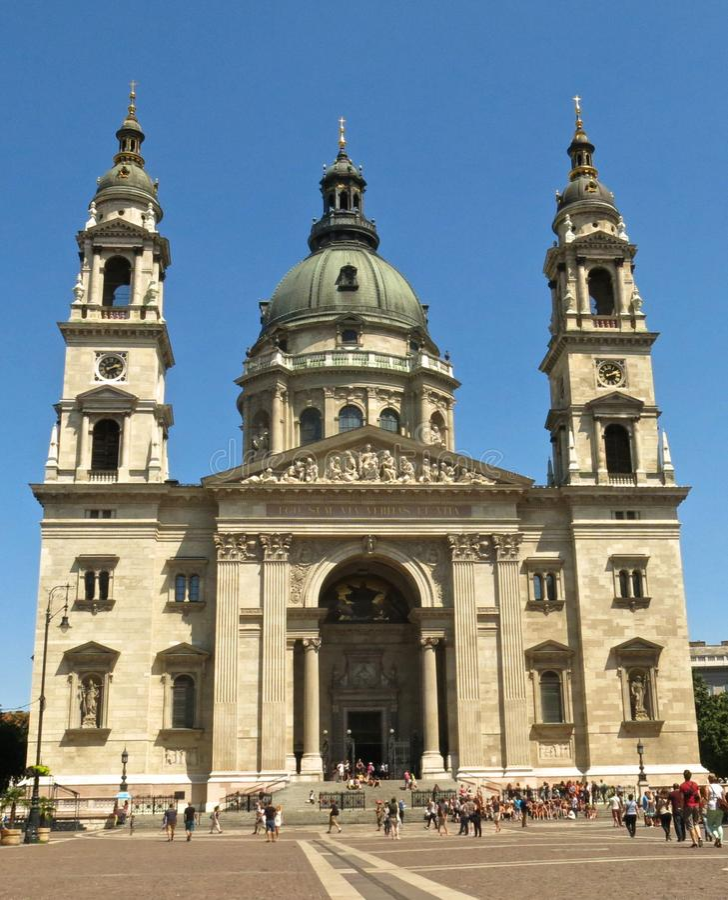 De Basiliekbuitenkant van Boedapest Hongarije St Stephen's stock fotografie