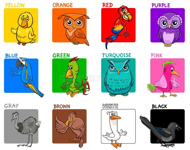 De basis onderwijsreeks van het kleurenbeeldverhaal met vogels vector illustratie