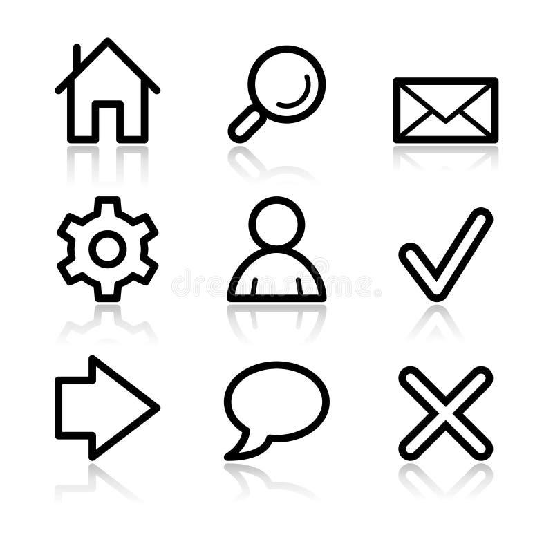 De basis pictogrammen van de Webcontour stock illustratie