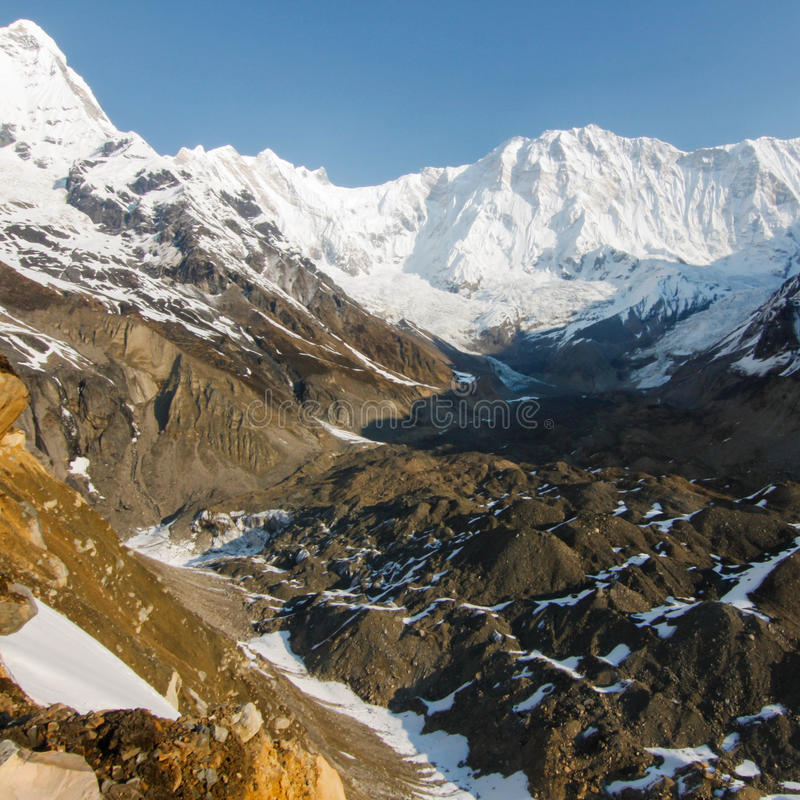De basiskamp van Annapurna in Nepal royalty-vrije stock fotografie