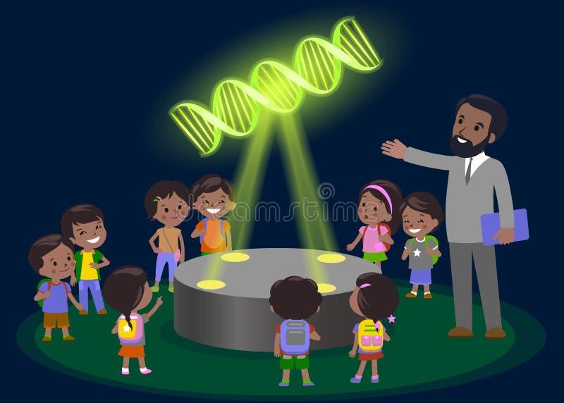 De basisschool van het innovatieonderwijs het leren technologie - groep jonge geitjes aan molecule van DNA hologram op biologiele vector illustratie