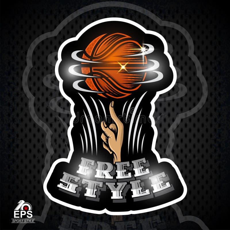 De basketbalbal draait op een fingr Sportembleem voor streetball op zwarte royalty-vrije illustratie