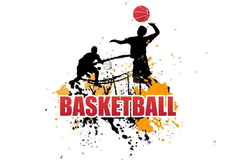 De basketbalspeler springt op witte achtergrond royalty-vrije illustratie