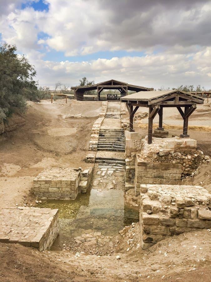 De Bastismplaats is de plaats waar Jesus van Nazareth door John Baptis werd gedoopt royalty-vrije stock foto
