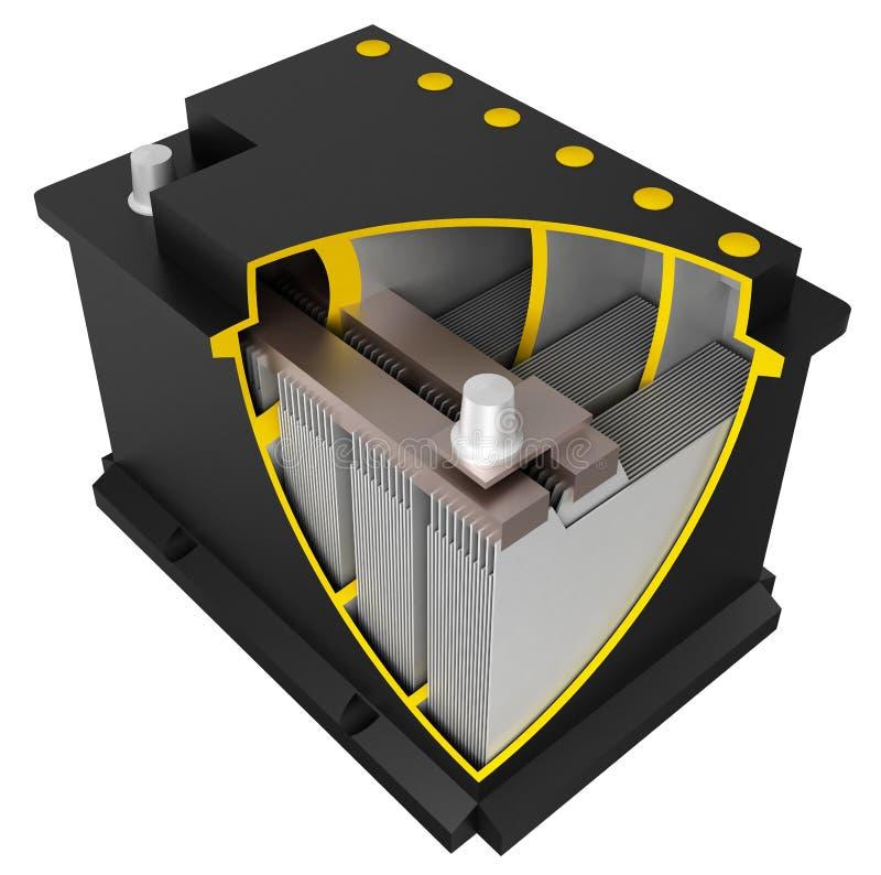 De batterij van de auto (assemblagetekening) vector illustratie